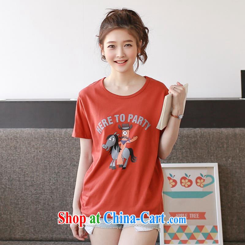 2015 ZDX Korean summer new female small donkeys cotton loose short-sleeve T-shirt women T-shirt orange XXL