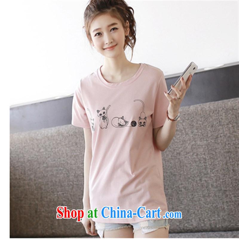 ZDX summer new boudoir honey sister with Korean version the code loose cartoon T-shirt Harajuku, short-sleeved girls T-shirt _4 cats_ toner XXL