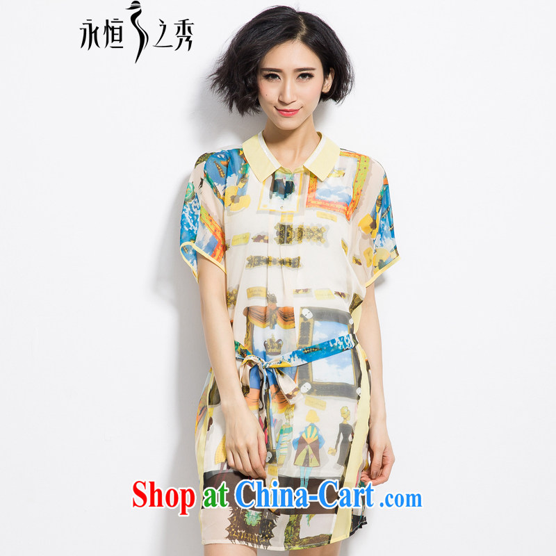 Summer 2015 mm thick new Europe XL female elegant figures stamp snow woven shirts dresses yellow 3XL