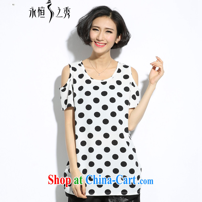 2015 spring and summer mm thick new Korean version the Code women clean and attractive is the stamp your shoulders mask poverty video thin T pension white 3XL