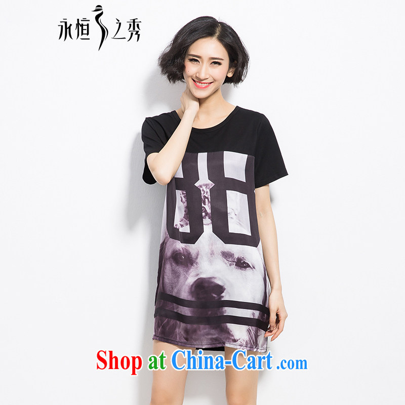 Summer 2015 mm thick new larger female and stylish high-pop-up forged digital stamp out poverty video thin, long T shirt black 3 XL