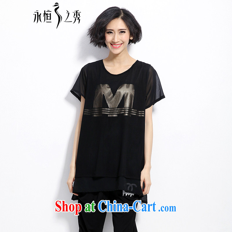 2015 spring and summer mm thick new Korean version the code female minimalist atmosphere letter stamp out poverty video thin T shirt black 3 XL