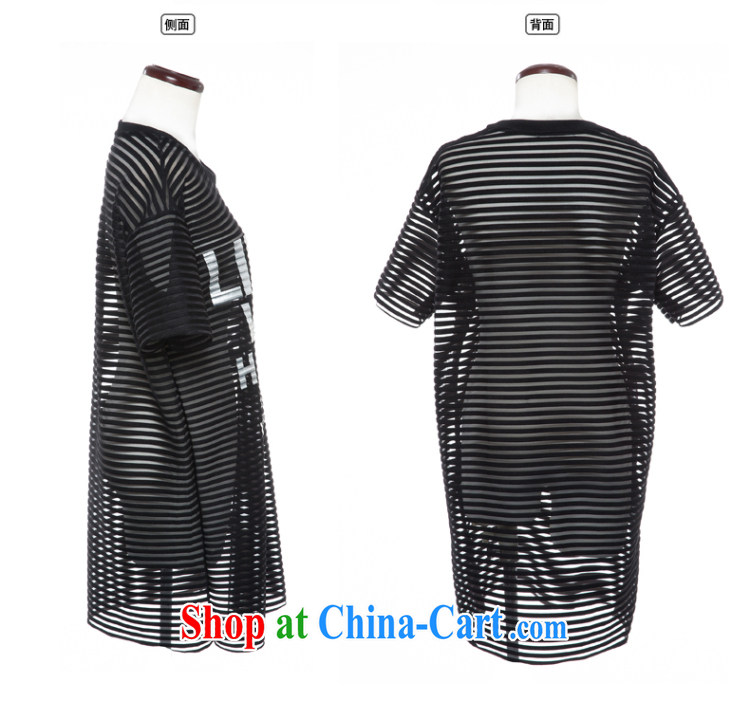 2015 spring and summer thick mm new, the United States and Europe, women stylish Openwork stripes letters two-piece short sleeve shirt T black 3 XL (really two-piece) pictures, price, brand platters! Elections are good character, the national distribution, so why buy now enjoy more preferential! Health