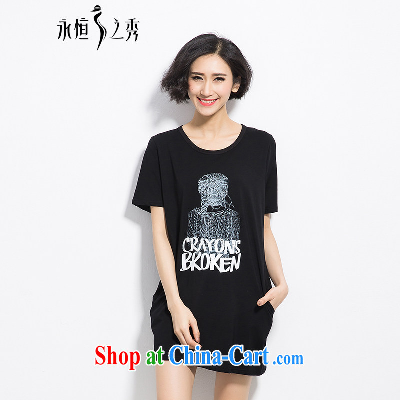 Eternal show the fat XL girls T-shirts thick sister 2015 summer new thick mm thick, graphics thin, stylish, classy letter stamp out poverty T-shirt skirt black 3 XL