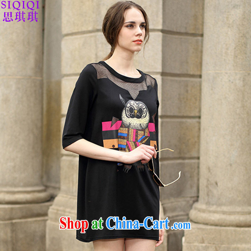 The Qi Qi _SIQIQI_ 2015 summer new stylish stamp duty, long spell by the United States and Europe, dresses LYQ summer 1189 black 3 XL
