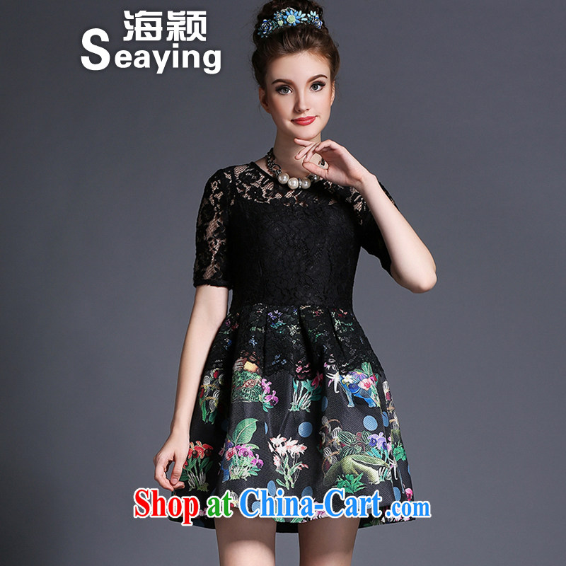 Hai Ying summer 2015 new Europe mm thick larger female stylish stamp-short-sleeved lace dresses A 692 black 4XL _175 - 190 _ jack