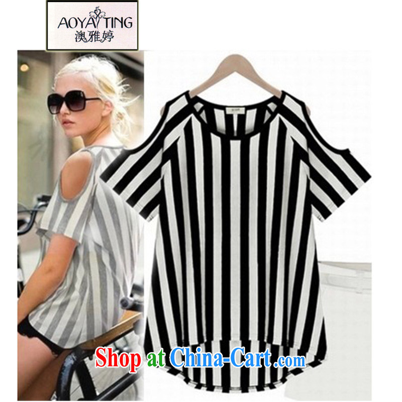 o Ya-ting 2015 New, and indeed increase, female summer thick mm video thin short-sleeved T-shirt girls exposed shoulder T-shirt black streaks 5 XL recommends that you 175 - 200 jack