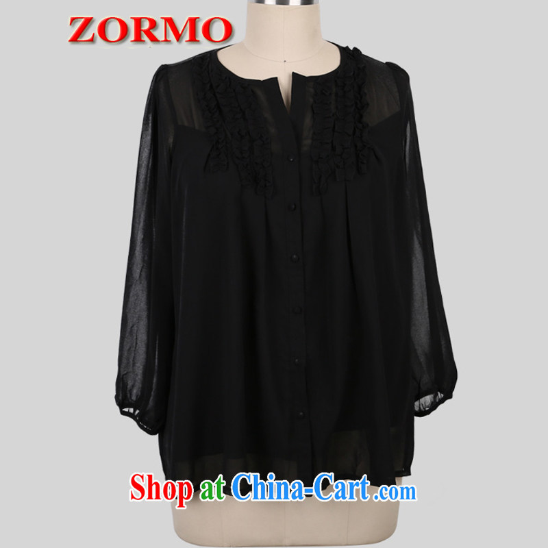 ZORMO larger female summer 7 large cuff code snow woven shirts thick mm and indeed XL black fungus edge shirt black 5 XL