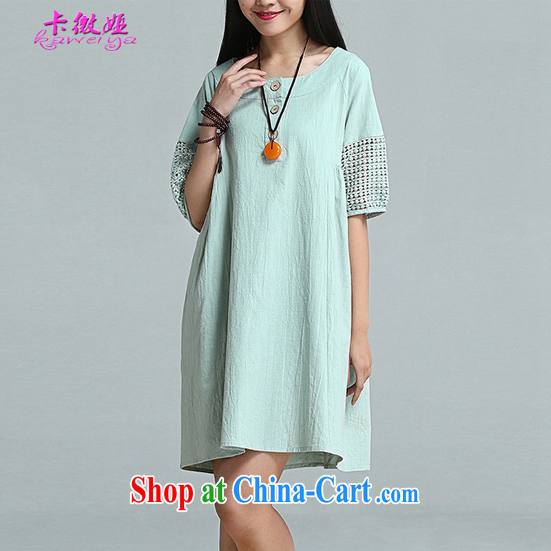 The micro-SIA, the female summer new arts, small fresh loose embroidered short sleeves cotton the dresses girls thick mm beauty graphics thin T-shirt 1060 light green XXL