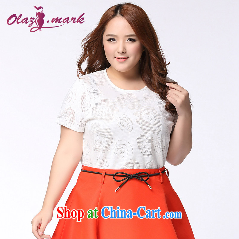The mine clearance, Mark 2015 summer new 200 Jack mm thick and fat increases, women with a short-sleeved shirt T graphics thin lace T-shirt T-shirt 1138 white 3XL (recommended chest of 124 cm)