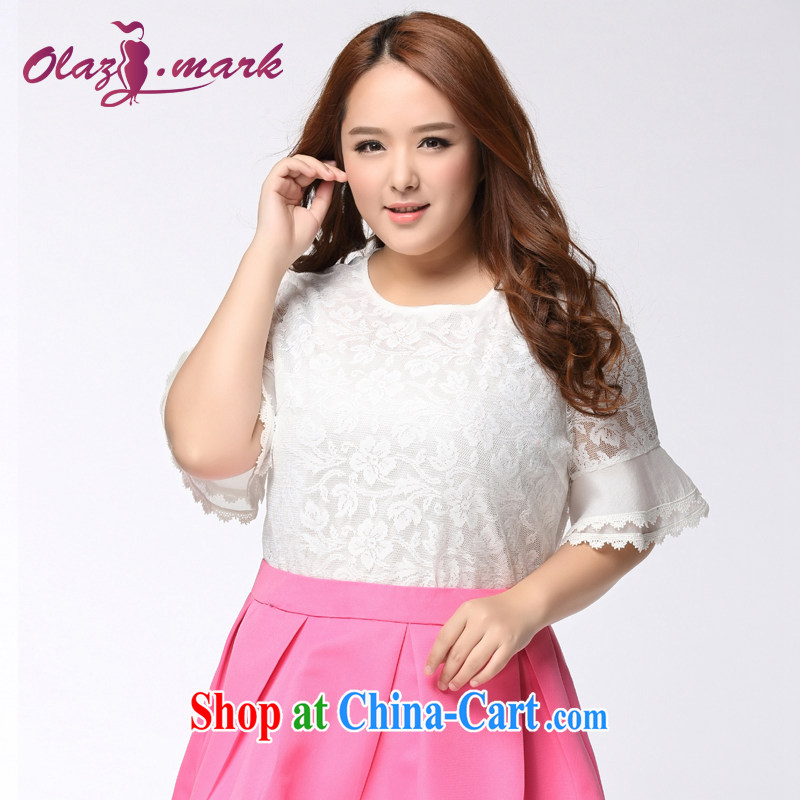 The Erez mark mm thick and is indeed increasing, girls with short-sleeved lace T-shirt 2015 summer new graphics thin round-collar T shirt T-shirt 1139 white XXXL (recommendations of chest 130 cm left and right)