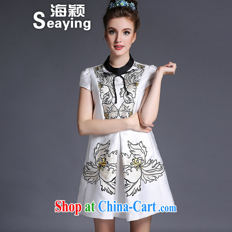 Hai Ying summer 2015 new Europe and North America, the female butterfly knot loose hit color embroidered A field short-sleeved dresses A 694 white 5 XL _190 - 210 _ jack