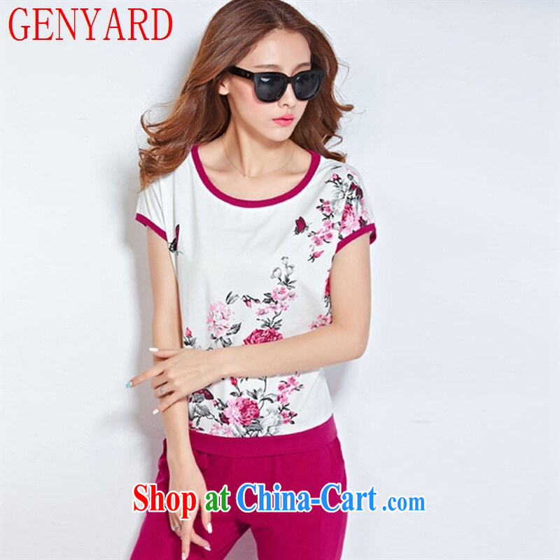 Qin Qing store 2015 new stylish stamp campaign kit female summer short-sleeve Leisure package Women Spring Summer MOM women summer Magenta XXXL