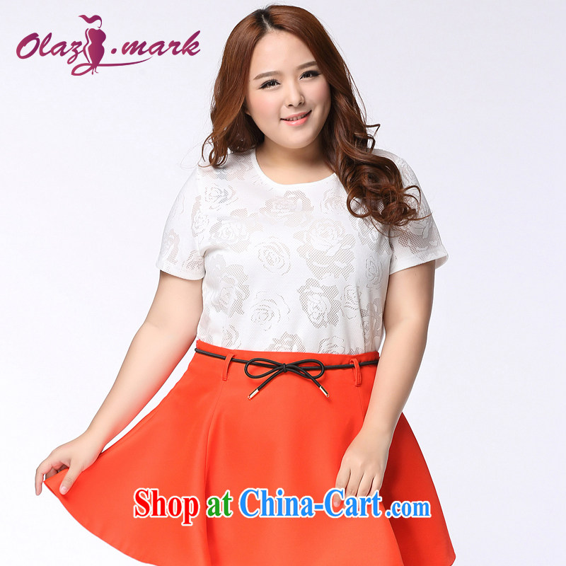 The Erez mark mm thick and is indeed increasing, female lace T-shirt 2015 summer new Korean version thick sister graphics thin short-sleeved T shirt 1145 white XL (recommended chest of 109 cm)