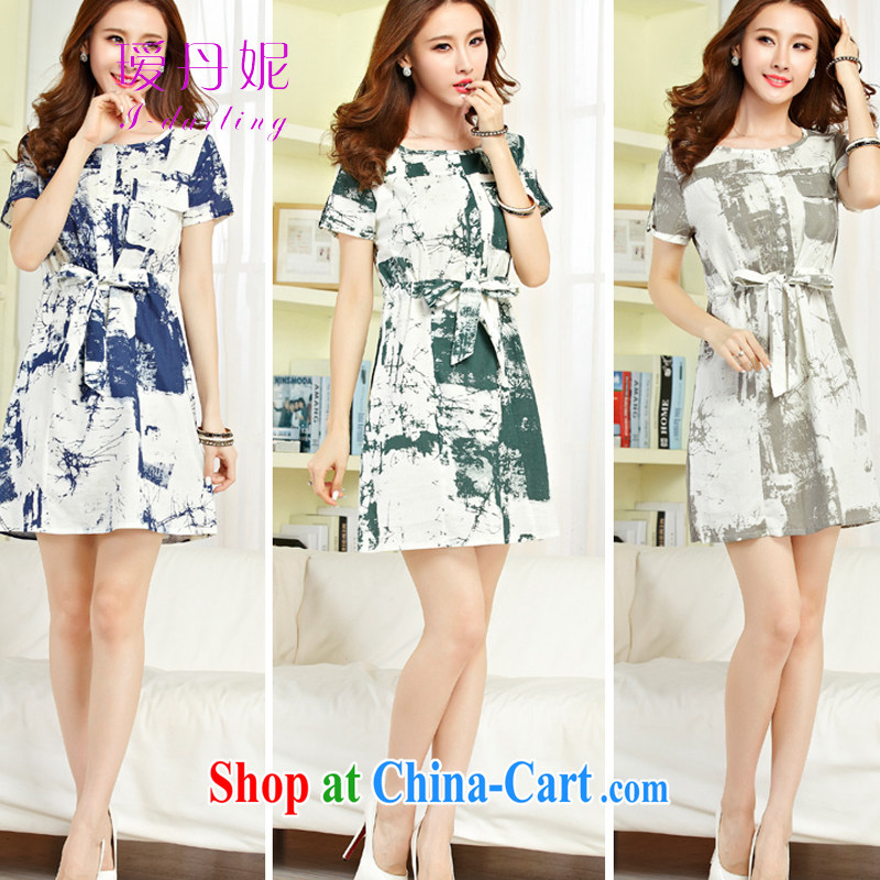 Aihui Denise 2015 summer New new women's clothing retro painting stamp art fan unit the larger graphics thin sleeveless dresses Female M 04 water and ink blue XL