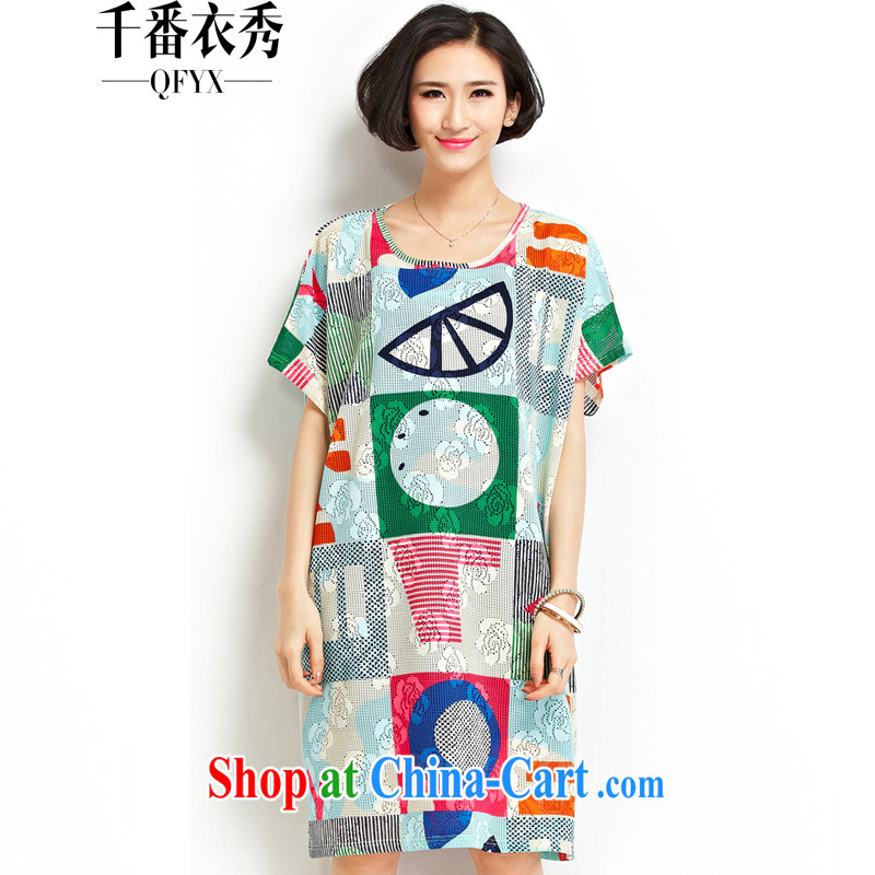 1000 double Yi Su-summer Korean female loose the code stamp T shirts dresses ZM 7197 blue are code