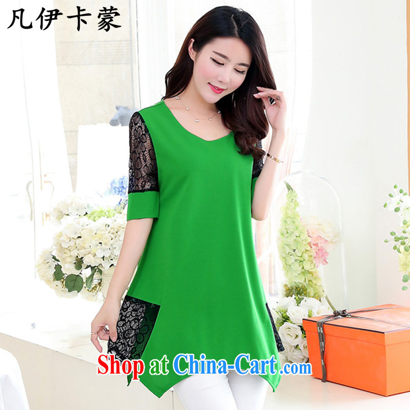 Where the card, 2015 summer new women in long, snow-woven shirts lace short sleeve female OL and obesity MM larger women L 900 green 2 XL