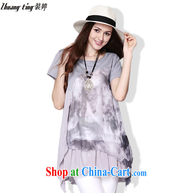 The Ting fat people graphics thin 2015 summer new, focused on Europe and 100 mm for larger women is indeed the greater latitude 5XL short-sleeved dresses TP 032 gray 5 XL