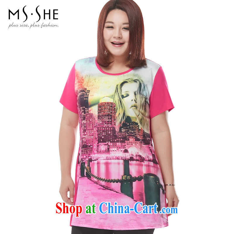 The MSSHE indeed XL women short-sleeve T-shirt 2015 new summer hot stamp duty drilling, generation, cotton T-shirt 2621 red 2 XL