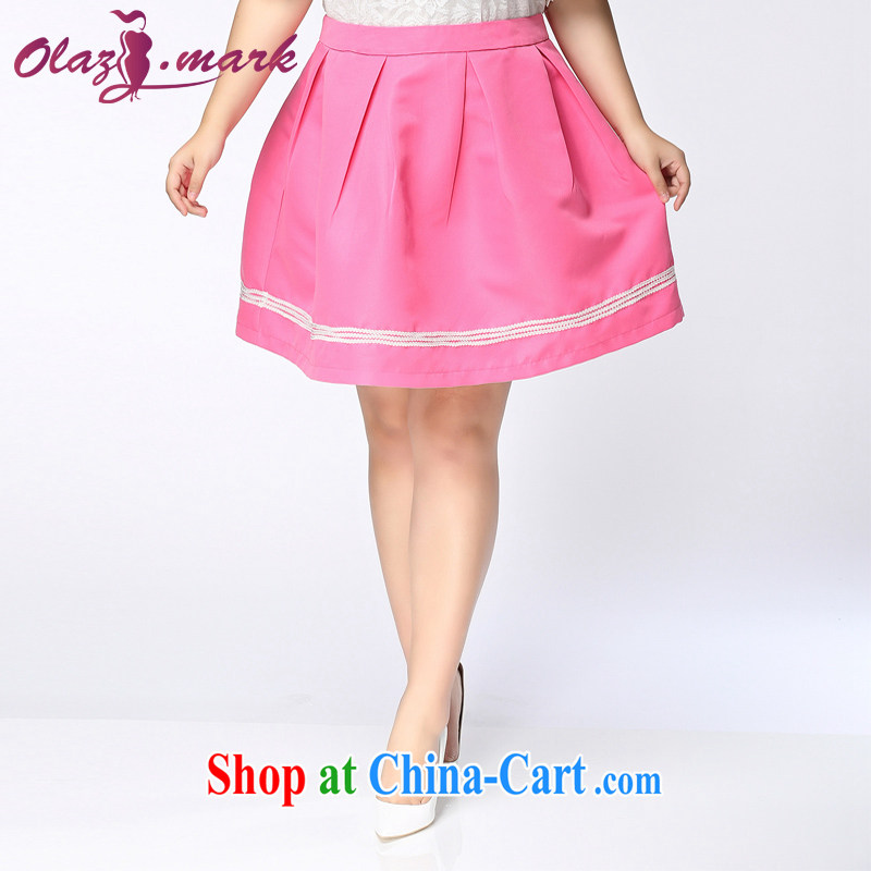 The Erez mark 2015 summer, new mm thick and fat XL female body skirt female Korean Beauty graphics thin skirts thick sister 4036 pink XXL _recommended waist 90 cm left and right_