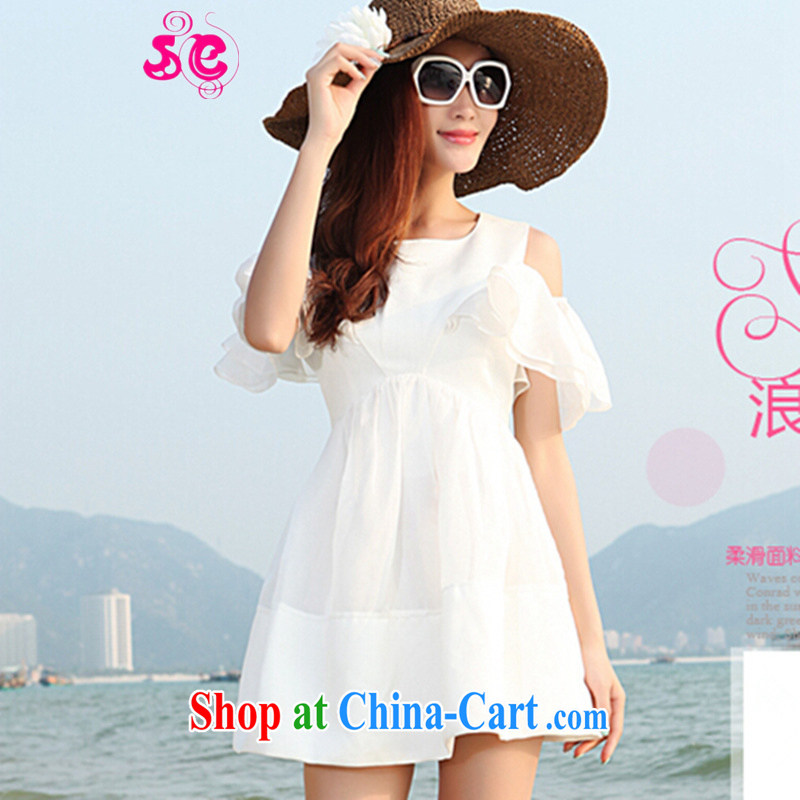 SE 2015 summer new Korean female fashion 100 ground bare shoulders flouncing decorated cuff the root by successive spelling skirts white XXXXL