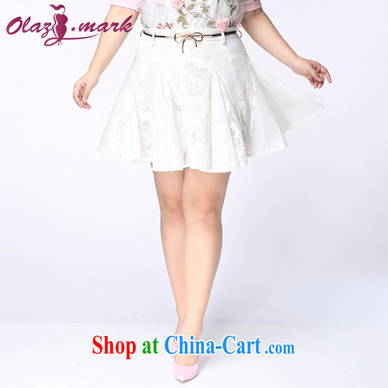 The Erez Mark's 2015 summer new, larger female body skirt thick sister won and indeed increase graphics thin lace short skirt girls 4040 white XXXL _waist 95 cm left and right_