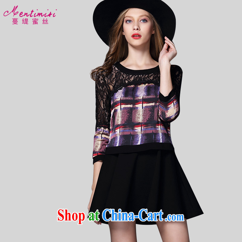 Mephidross economy honey, the Code women 2015 summer new FAT sister and indeed increase in Europe lace stitching stamp dress 2039 purple large code 5 XL