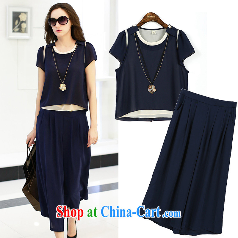 RN European site 2015 larger female summer new thick mm leave two snow woven shirts relaxed wide leg pants two-piece such as the color 3 XL - 145 - 165 jack