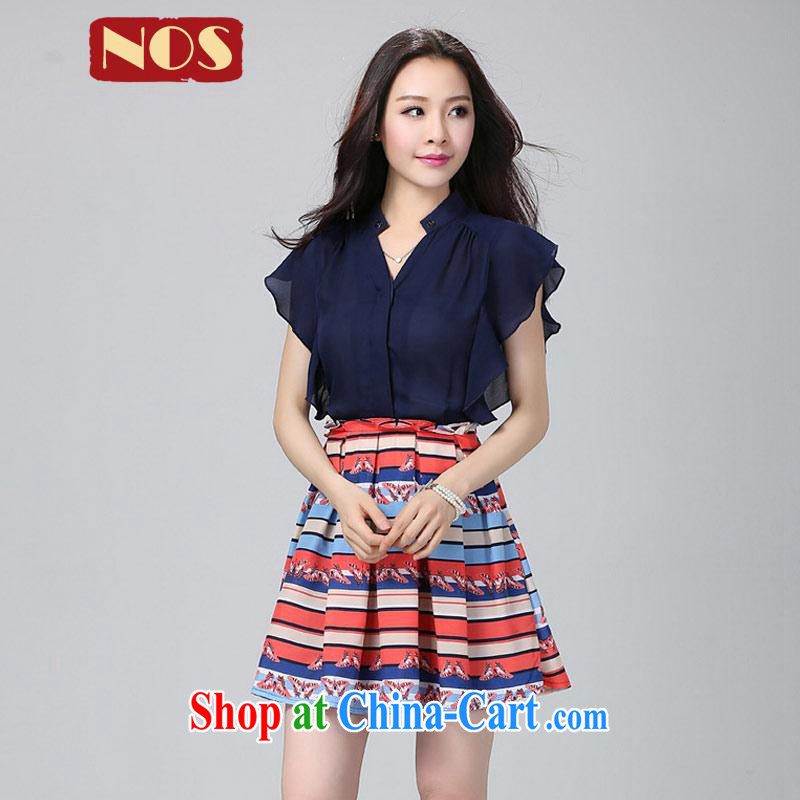 Summer NOS new Snow-woven stitching short-sleeved breathable dresses, with stamp duty 100 Ms. hem skirt Y 22,051 large blue code 3XL