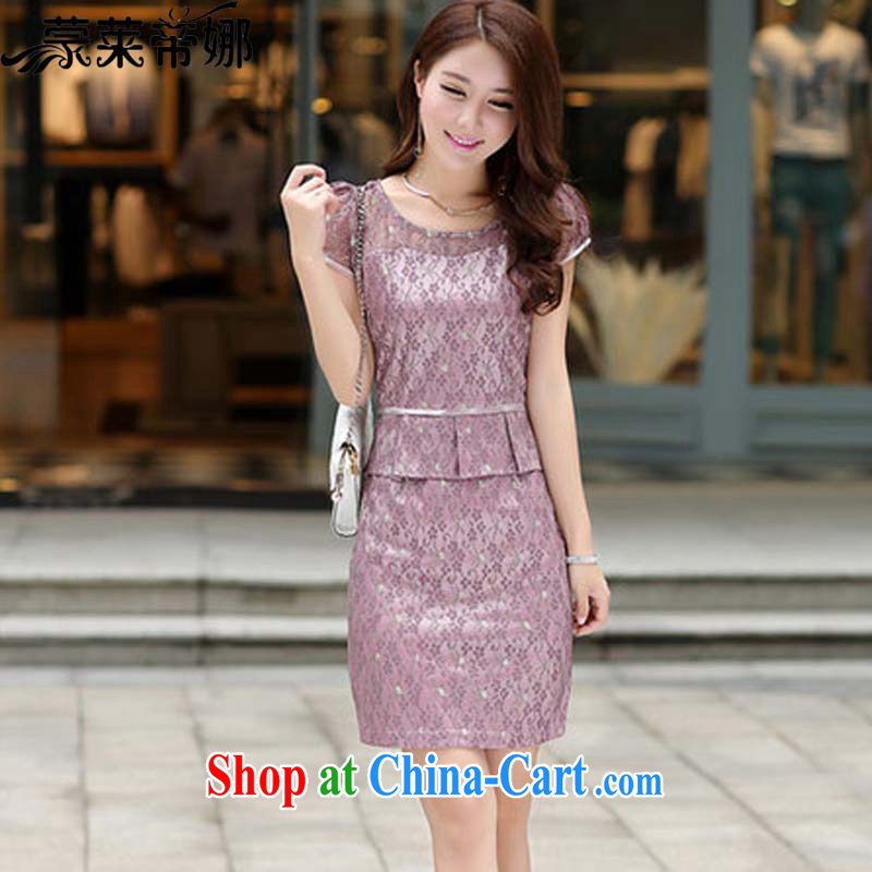 Tony Blair, in Dili, 2015 spring new cuff in lace-name-yuan OL aura beauty graphics thin dresses leave of two piece summer 5002 purple short-sleeved upgrade XXXL