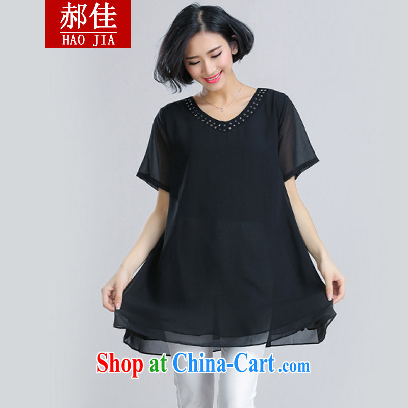 Hao better XXXXXXL large, female fat sister, long, short-sleeved leave two snow woven shirts black 3 XL