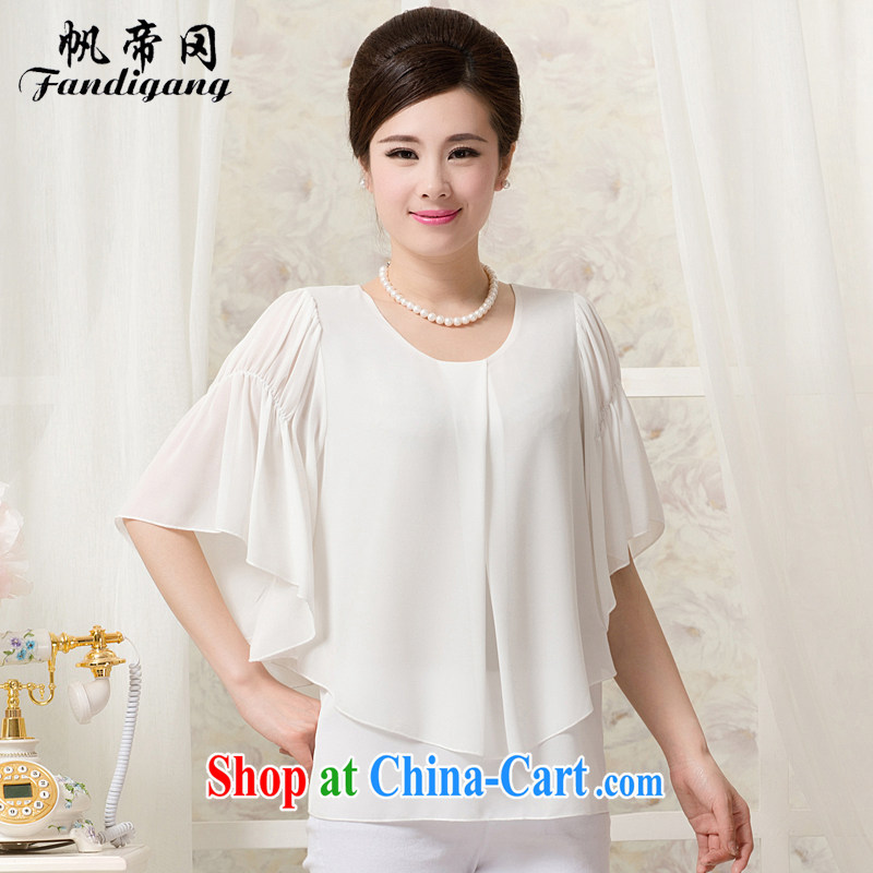 Fan the middle-aged and older women wear summer new Korean short-sleeved snow woven shirts large, middle-aged mother with liberal short-sleeve shirt T female white 4 XL