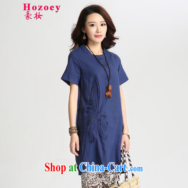 heavy makeup dress summer dress New Literature and Art, the cotton linen ramie relaxed thick MM embroidery, long T shirts small shirts shirt T-shirt large package mail 8031 Navy L