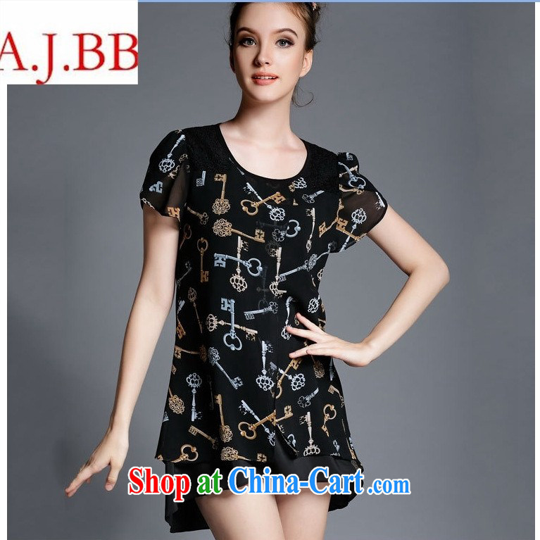 9 month dress * Europe and indeed the XL female thick MM summer short-sleeved video thin ice woven stamp dress relaxed thick sister black XXL