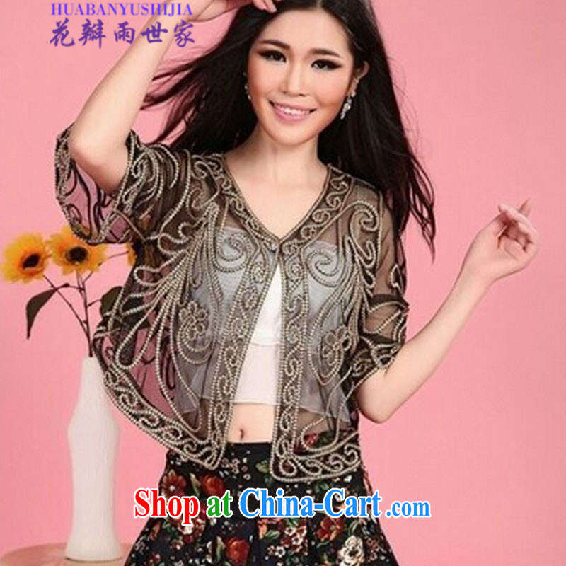 Petals rain family Korean summer short-sleeve-lace 100 on the T-shirt small shawl jacket XJ 018 - 0325 - 28 black point on the code XL