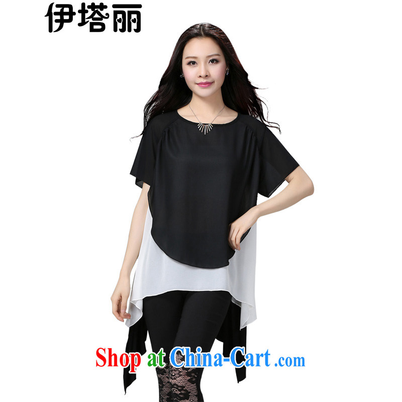 The Lai 2015 summer new Korean version of the greater number female and FAT and FAT mm thick, graphics thin, loose, long, snow-woven shirts T shirt T-shirt Q 560 White Black Large code are code