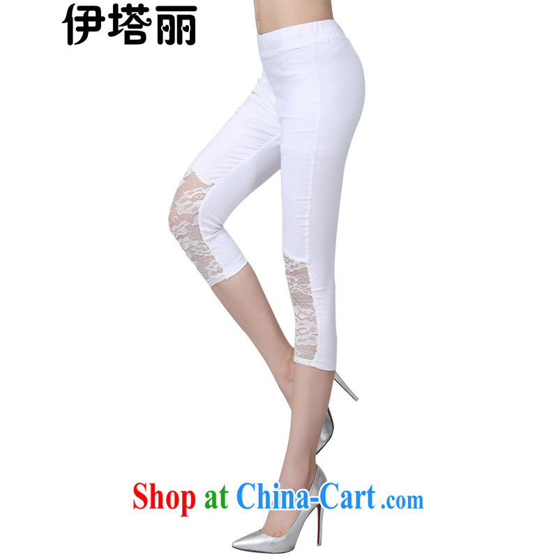 The tower, summer 2015 new Korean version 100 to ground the FAT and FAT sister loose video thin 7 pants stretch tight solid pants large, thin 7 pants white XXXXL