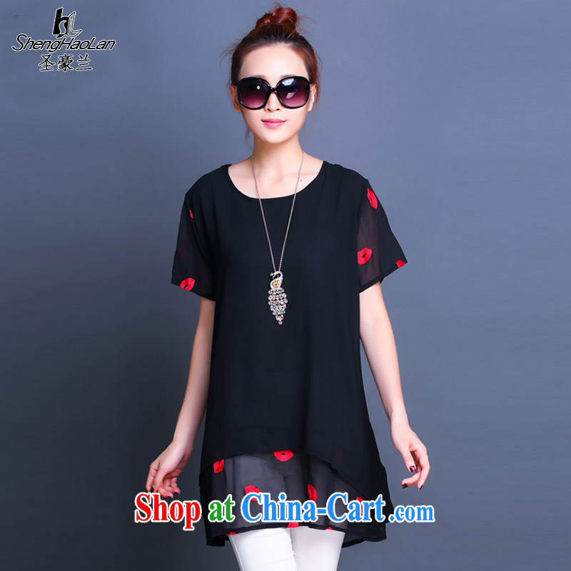 San-ho, 2015 summer new 200 Jack the thick mm and indeed increase, women and new Korean loose snow woven double dress shirt solid black XXL 140 jack - 155 jack