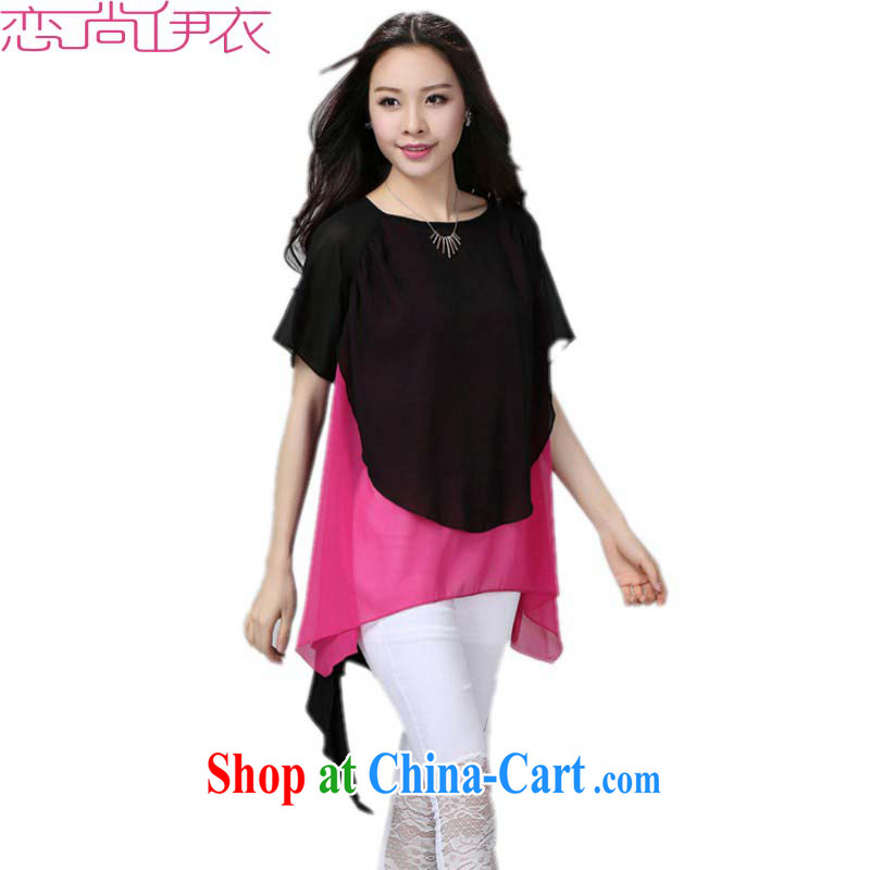 The false Two-piece 2015 summer new Korean female thick mm larger relaxed, long, snow-woven shirts T shirt T-shirt and ventricular hypertrophy, Yi red and black are code 230 Jack the following
