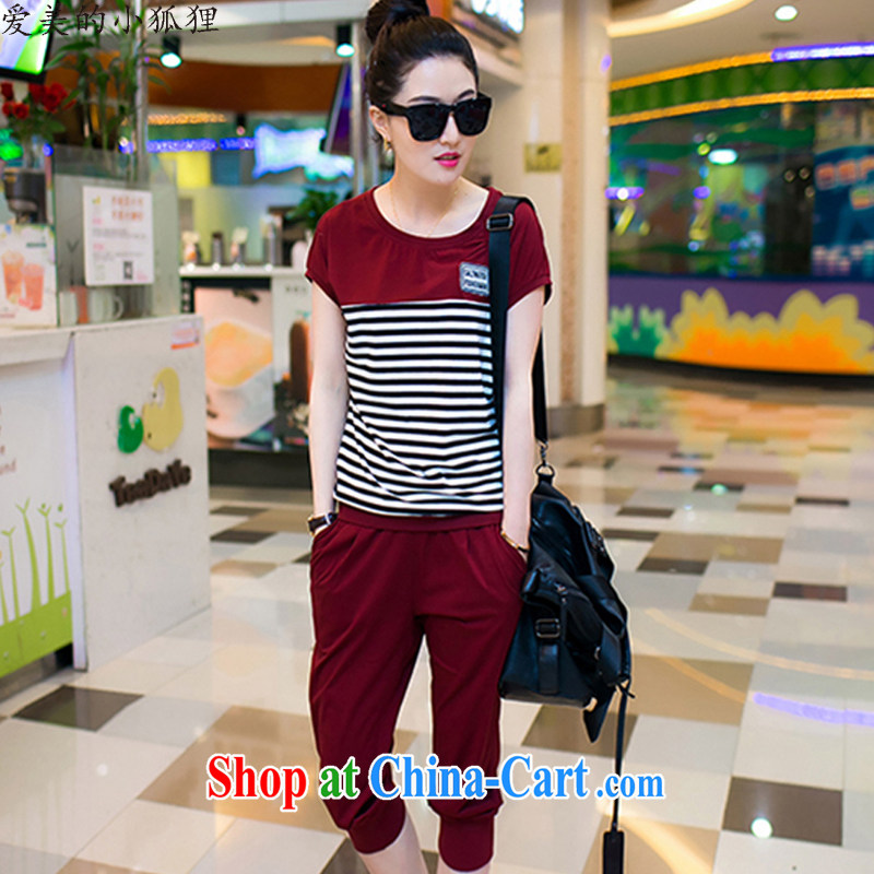 The beauty of the little foxes 2015 summer relaxed Leisure package girls summer short-sleeved larger movement women's clothing, sportswear 8557 wine red XXL