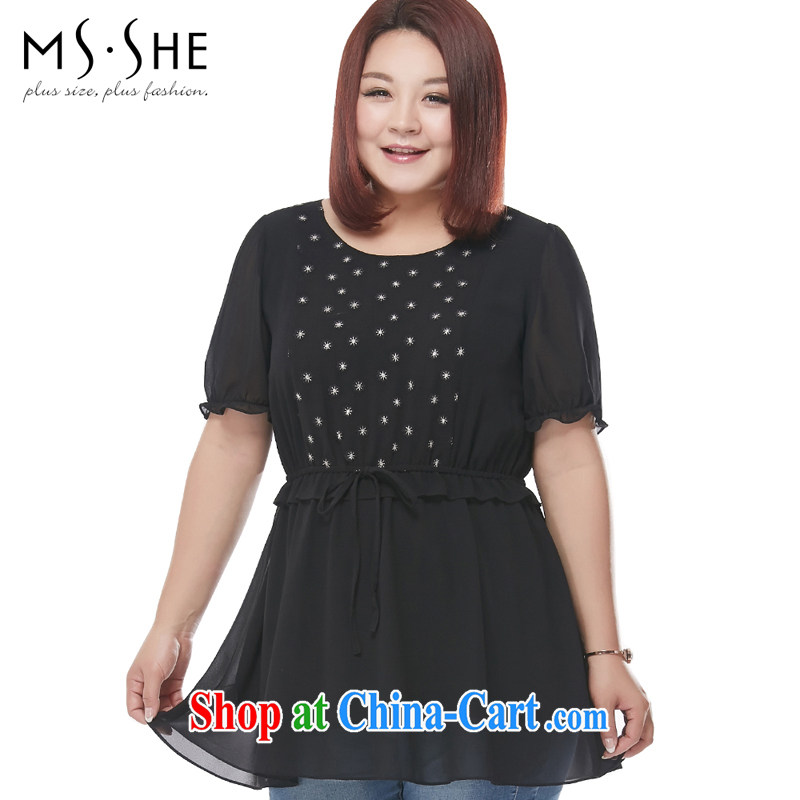 The MSSHE indeed XL women 2015 new summer embroidered stitching short-sleeve snow woven shirts 4548 black 4XL
