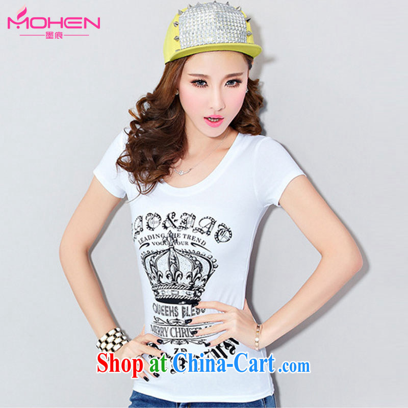 Ink marks 2015 summer new Korean cotton round-collar short-sleeve T-shirt thick mm beauty graphics thin stamp wood drill Crown T shirts and indeed increase, female white 3 XL _135 - 145 _ jack