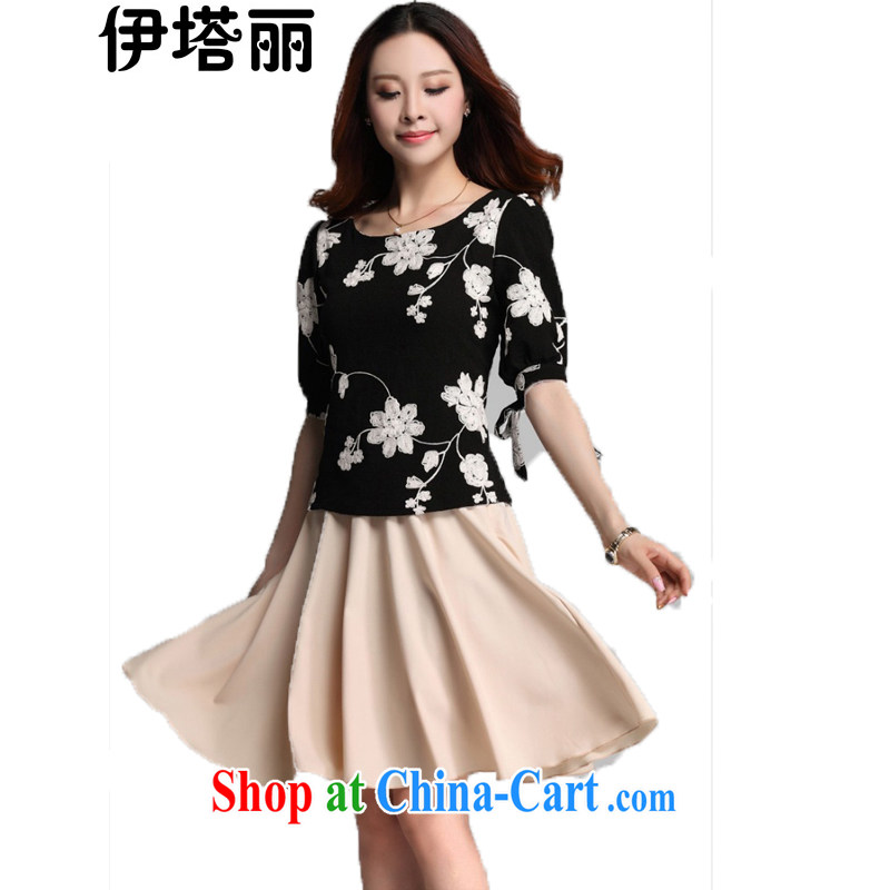 The tower, summer 2015 new Korean female XL thick sister fat people dress graphics thin section 5 with embroidery is really two-piece dresses black T-shirt XL