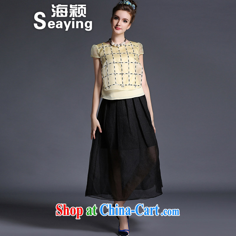 Hai Ying 2015 summer new European and American two-piece large, female weight 200 mm jack short-sleeved Web yarn snow woven dresses package A 699 yellow L _100 - 125 _ jack