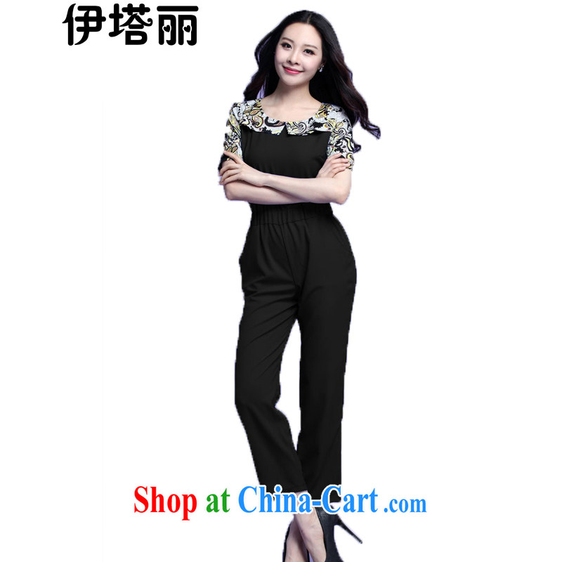 The tower, summer 2015 new, larger female and FAT and FAT people wear thick MM knocked color lapel-waist-pants-trousers trousers 3707 black XXXXL