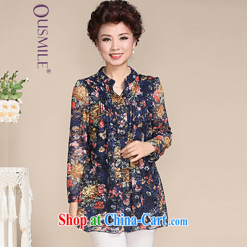 Ousmile 2015 new spring and summer retro leisure stamp duty short-sleeved shirt T shirt mother in older women with the Code 1886 long-sleeved blue spend 4 XL