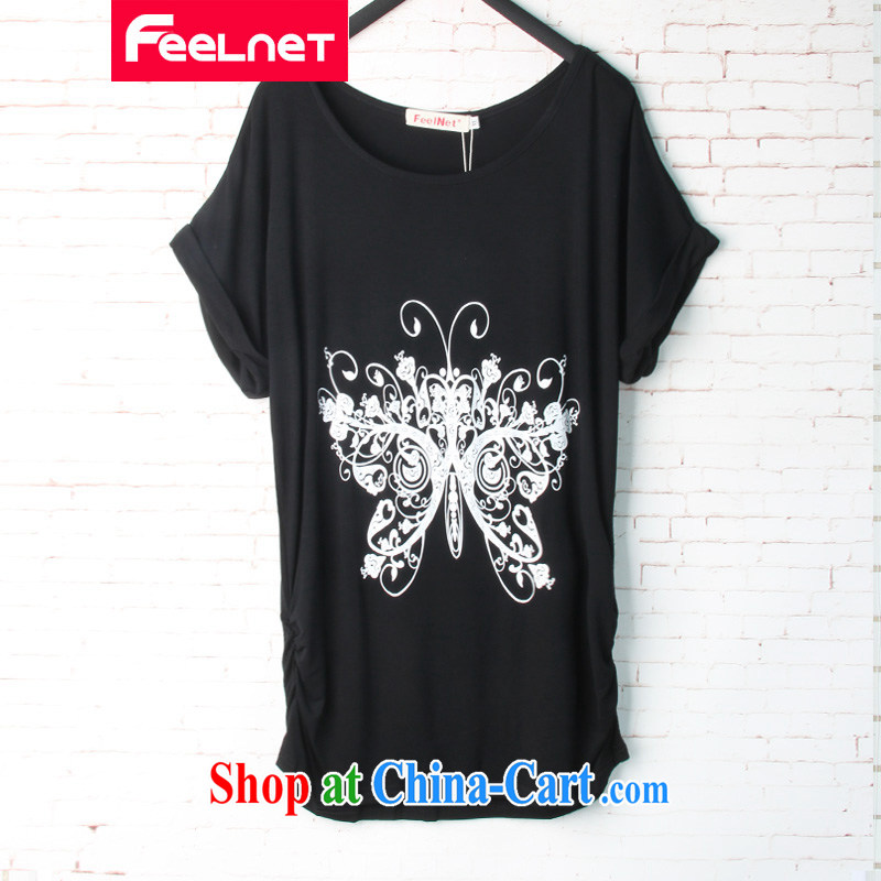 The feelnet Code women new summer mm thick loose summer Korean Beauty graphics thin stretch stamp duty short-sleeved T pension 1512 black 6 XL codes - Recommendations of chest 126 CM