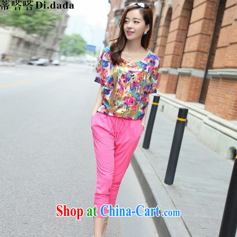 Mr. click click _Di . dada_, summer 2015 new, larger female short-sleeved T-shirt Han version 7 pants leisure Package D 9301 by red L