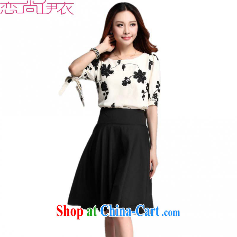 Slim Anne The ventricular hypertrophy, Yi 2015 new summer Korean version of the greater number of 5 cuff round-collar embroidered dresses really two-piece body skirts, sleeves shirt T skirt set apricot color T-shirt 3XL 2 feet 7