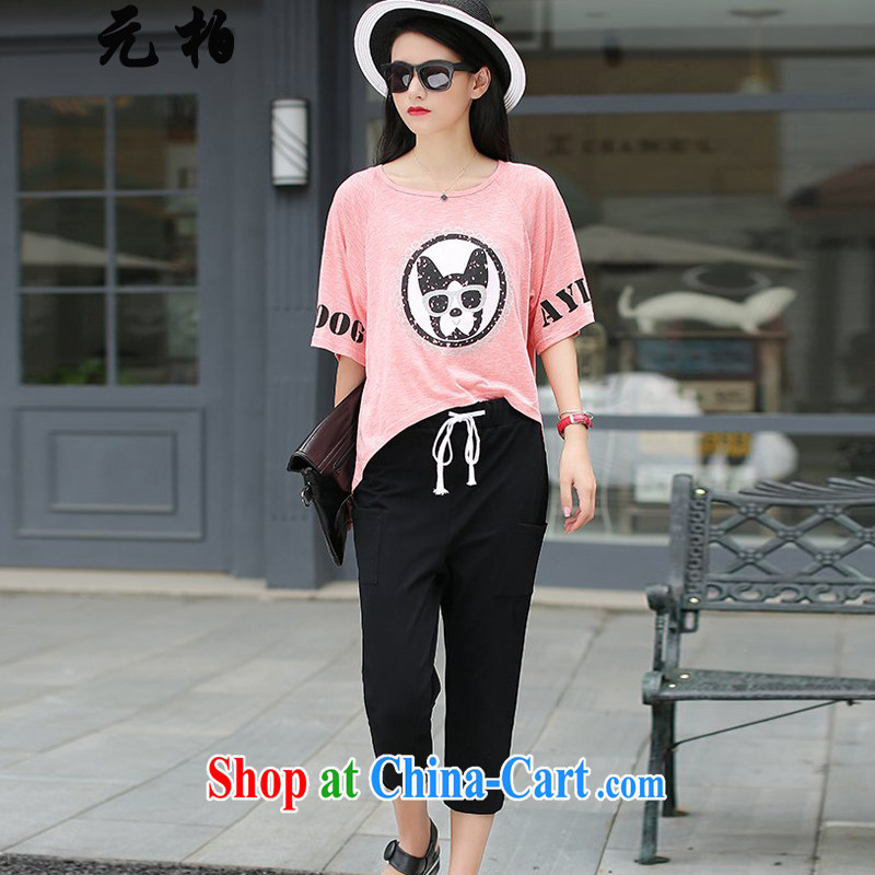 Pak won new summer, relaxing in Europe and the Code female liberal T pension graphics thin two-piece thick MM 7 pants pink + black trousers 2016 XL 2 135 - 145 Jack left and right
